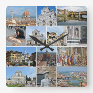 Florence collage square wall clocks