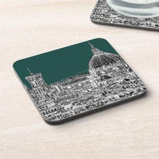 Florence dark green coaster