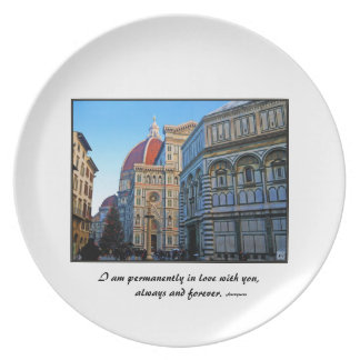 Florence Duomo Cathedral with Love Quote Plate
