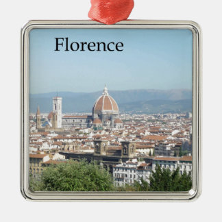 Florence Duomo from Michelangelo Square (new-St.K) Square Metal Christmas Ornament