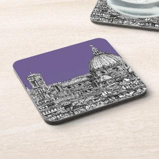 Florence duomo lilac purple beverage coaster