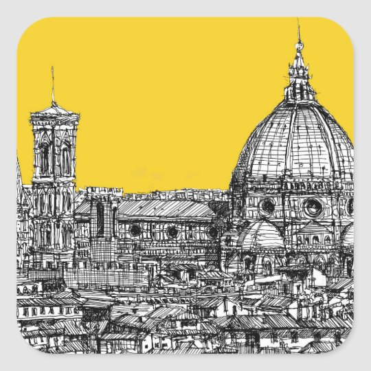 Florence duomo orange square sticker