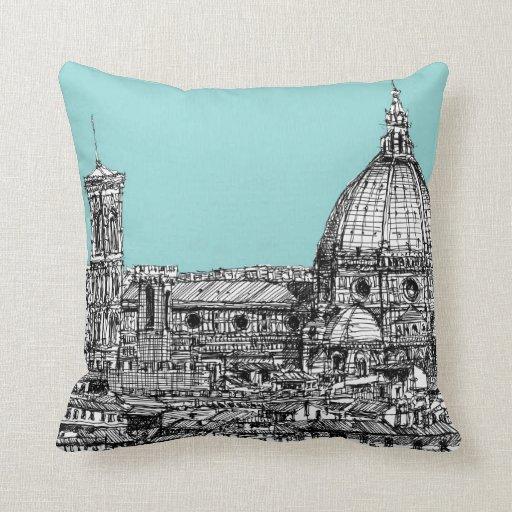 Florence duomo pale blue throw pillows