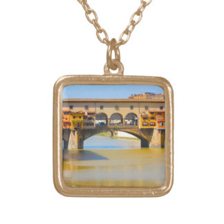 Florence -Firenze, Ponte vecchio Gold Plated Necklace