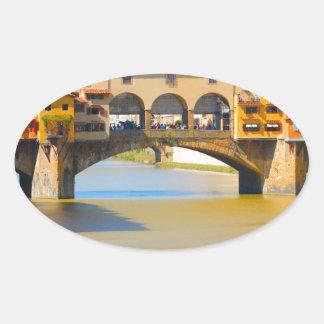 Florence -Firenze, Ponte vecchio Oval Sticker