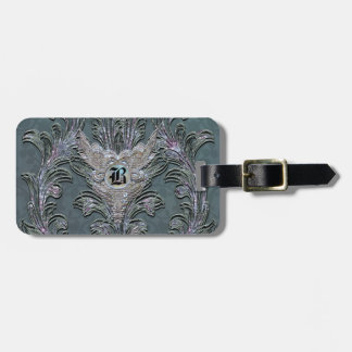 Florence Floral Elegant Damask  Monogram Luggage Tag