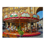 Florence Italy Antique Carousel Postcard