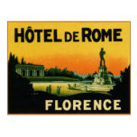 Florence Italy HOTEL DeROME Post Card