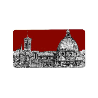Florence Italy in red Label