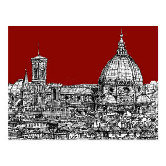 Florence Italy in red Postcard