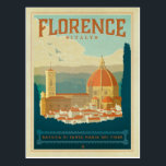 "Florence, Italy Postcard<br><div class=""desc"">Anderson Design Group is an award-winning illustration and design firm in Nashville,  Tennessee. Founder Joel Anderson directs a team of talented artists to create original poster art that looks like classic vintage advertising prints from the 1920s to the 1960s.</div>"