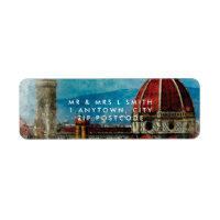 Florence Italy watercolour return address label