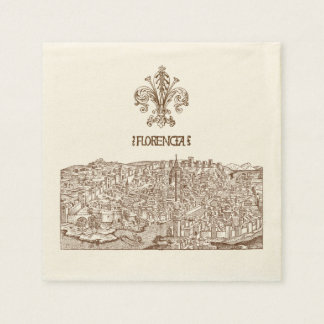 Florence, Medieval Woodcut Paper Napkin