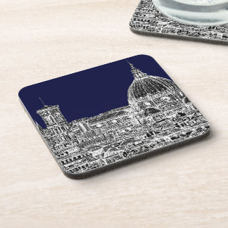 Florence navy dome beverage coaster