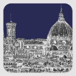 Florence navy dome square sticker