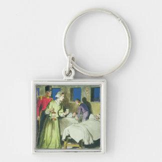 Florence Nightingale (1820-1910) de 'píos en Llavero Cuadrado Plateado