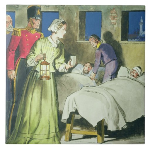 Florence Nightingale (1820-1910) from 'Peeps into Large Square Tile