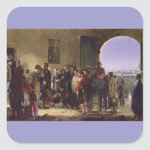Florence Nightingale que recibe el Scutari herido Pegatina Cuadrada