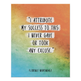 "Florence Nightingale Quote ""I attribute success"" Poster"