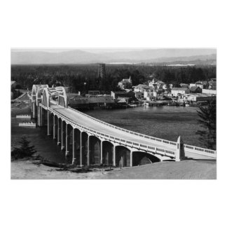 Florence, Oregon Town View and Siuslaw Bridge Poster