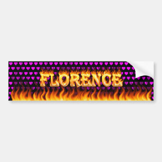 Florence real fire and flames bumper sticker desig