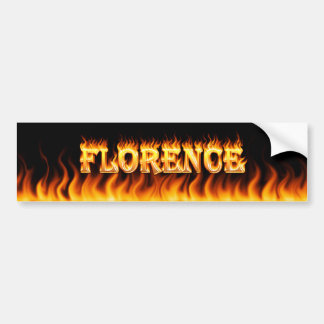 Florence real fire and flames bumper sticker desig car bumper sticker