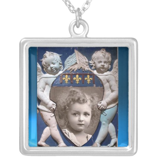 FLORENCE RENAISSANCE LITTLE ANGELS PHOTO TEMPLATE SILVER PLATED NECKLACE