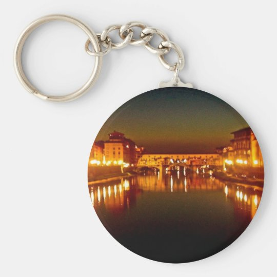 Florence river at night keychain