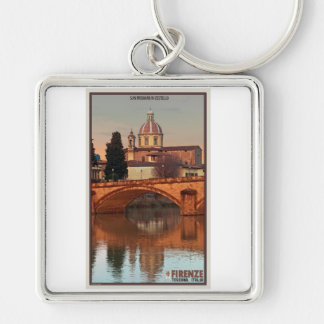Florence - San Frediano in Cestello Silver-Colored Square Keychain