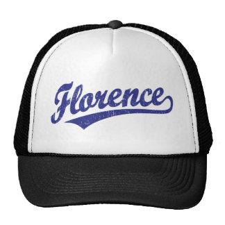 Florence script logo in blue trucker hat