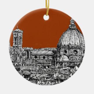 Florence sepia brown ceramic ornament