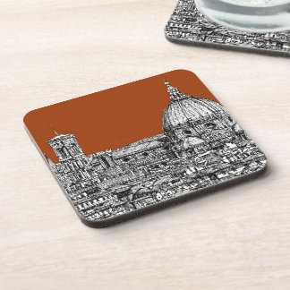 Florence sepia brown drink coaster