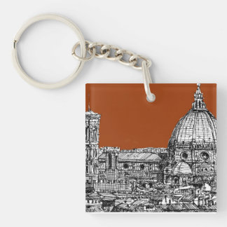 Florence sepia brown keychain