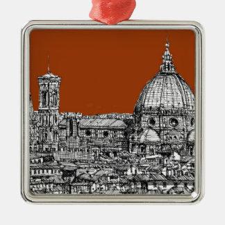 Florence sepia brown metal ornament