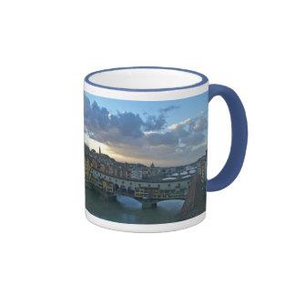 Florence - Sunset, Arno River Bridges Ringer Coffee Mug