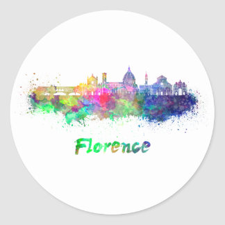 Florence V2 skyline in watercolor Classic Round Sticker