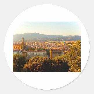 Florencia antes de la puesta del sol etiqueta redonda