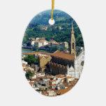 Florencia hermosa adorno navideño ovalado de cerámica