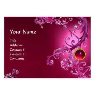 FLORENTINE BAROQUE MONOGRAM GEM pink fucsia ruby Business Card Template