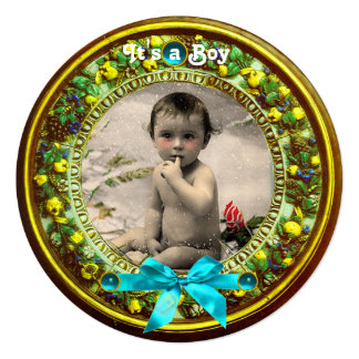 FLORENTINE FRUITS BLUE RIBBON BABY BOY SHOWER CARD