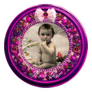 FLORENTINE FRUITS PINK RIBBON BABY GIRL SHOWER CARD
