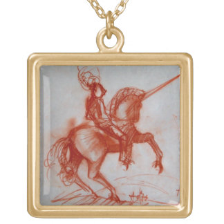 FLORENTINE  KNIGHT ON HORSEBACK GOLD PLATED NECKLACE