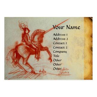 FLORENTINE  KNIGHT ON HORSEBACK Monogram cream Large Business Cards (Pack Of 100)