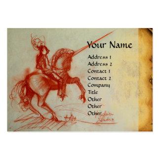 FLORENTINE  KNIGHT ON HORSEBACK Monogram eggshell Large Business Cards (Pack Of 100)