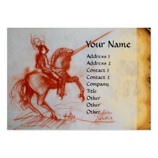 FLORENTINE  KNIGHT ON HORSEBACK Monogram gem Large Business Cards (Pack Of 100)