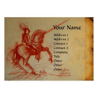 FLORENTINE  KNIGHT ON HORSEBACK Monogram  gold red Large Business Cards (Pack Of 100)