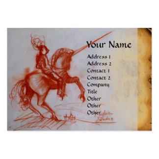 FLORENTINE  KNIGHT ON HORSEBACK Monogram linen Large Business Cards (Pack Of 100)