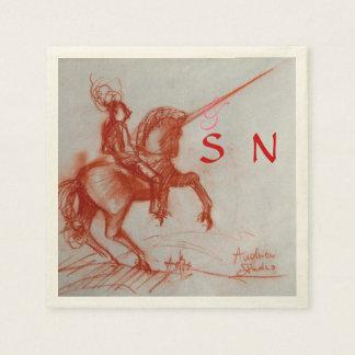 FLORENTINE  KNIGHT ON HORSEBACK monogram Napkin