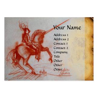 FLORENTINE  KNIGHT ON HORSEBACK Monogram pearl Large Business Cards (Pack Of 100)