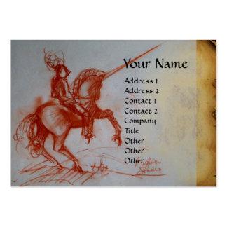 FLORENTINE  KNIGHT ON HORSEBACK Monogram  platinum Business Card Templates